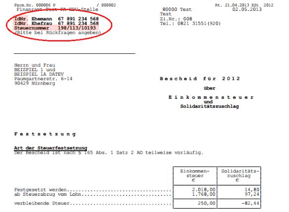Einkommensteuerbescheid Muster